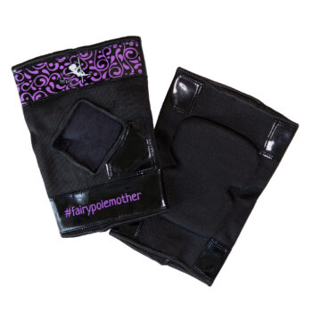 Sticky back knee pads for floorwork and pole dancing – Purple and Black