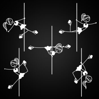 Pole Dance Sticker set of 5