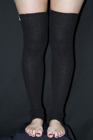 Extra long Stirr-up Knit Legwarmers Black