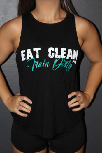 Eat clean train dirty BLACK Cross back Tank