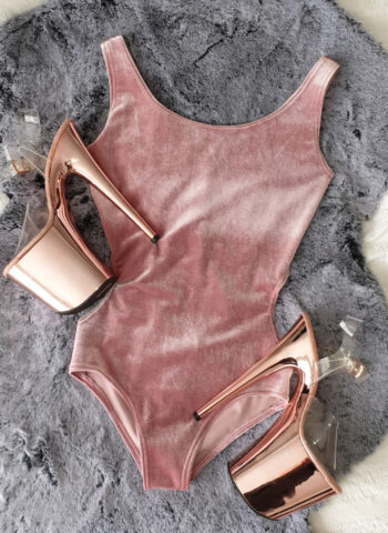 Pink Velvet Bodysuit for Pole Dancing